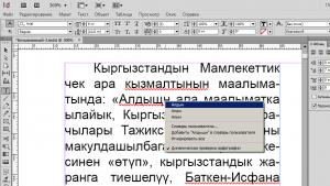 Снимок экрана при проверке орфографии